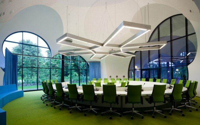 Green Chairs with Modern White Conference Room – shared on Contemporist