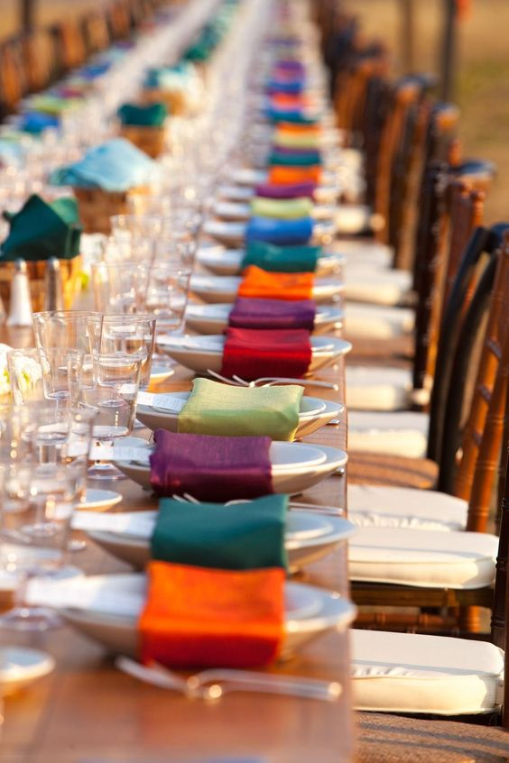 Jewel Tone Linen Napkins Display – featured on Borrowed and Blue