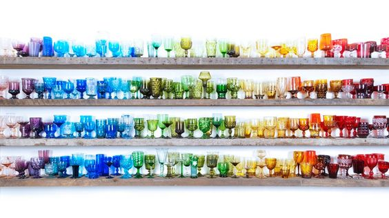 Jewel Tone Vintage Glassware Display – spotted on Pinterest