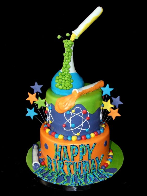 Kid's Tiered Science Themed Birthday Cake – spotted on Pinterest