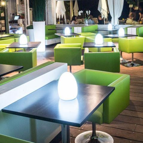 Modern Green Corporate Cafe Furniture with Glowing Centerpiece – featured on Glowmi.com