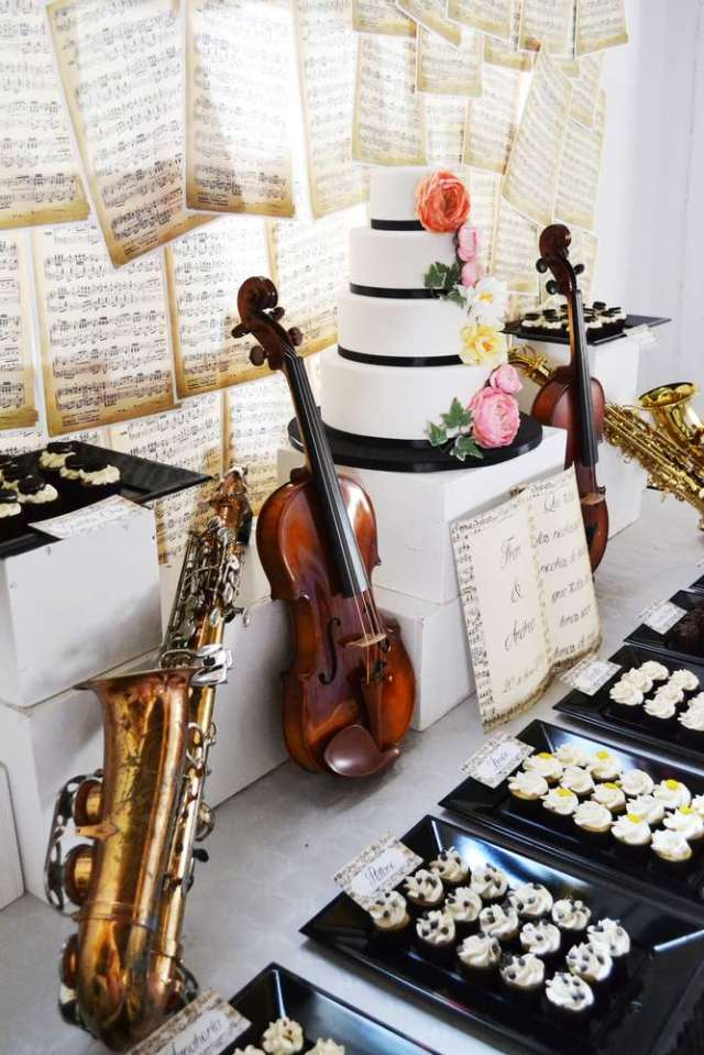 Music Themed Wedding Dessert Buffet Display – shared by Antojitos Eventos on Catch My Party