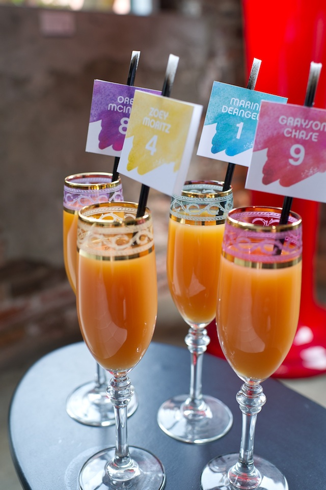 Painted Colorful Cocktail Escort Cards – shared by Rachel Clingen