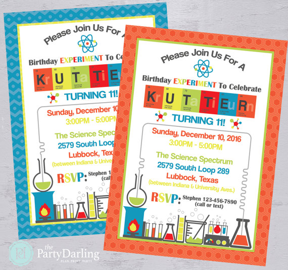 Printable Science Birthday Invitation – created and sold by ThePartyDarlingLLC on Etsy