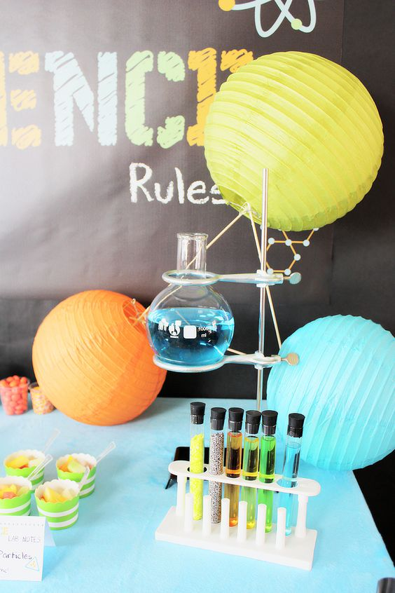 Science Lab Party Food Buffett Display – shared by Michelle's Party Plan-It