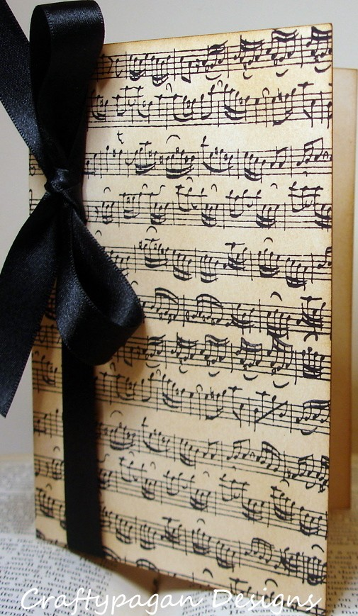 Sheet Music Notes Invitations with Black Accent Ribbon – created and sold by craftypagan on Etsy