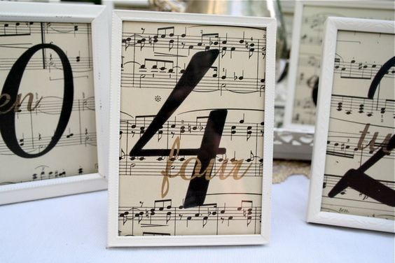 Sheet Music Wedding Table Markers – mentioned in this post on Wedding Bee