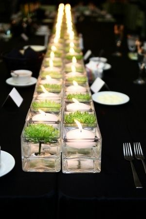 Simple Greenery Floral and White Candle Table Centerpiece – spotted on Pinterest