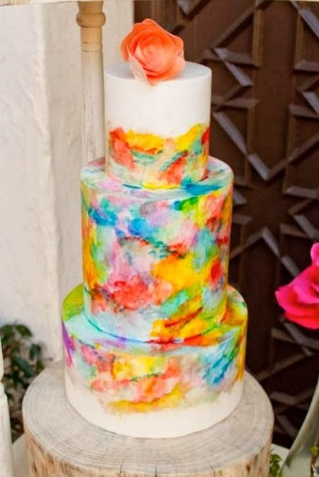 Tiered Watercolor Wedding Cake – shared in a roundup post by Cake Wrecks