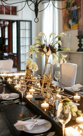Trumpets and Brass Instrument Music Themed Centerpiece – featured on Style Me Pretty