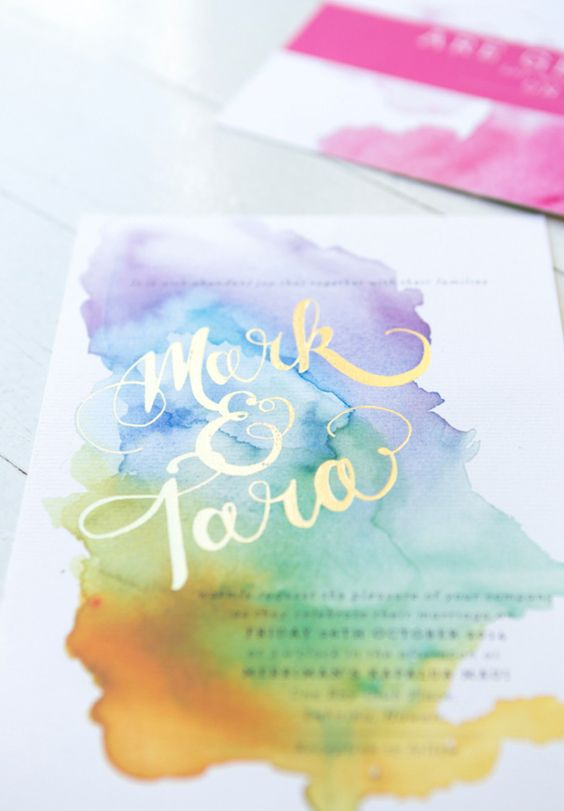 Watercolor Burst Wedding Invitation – featured on Hello May