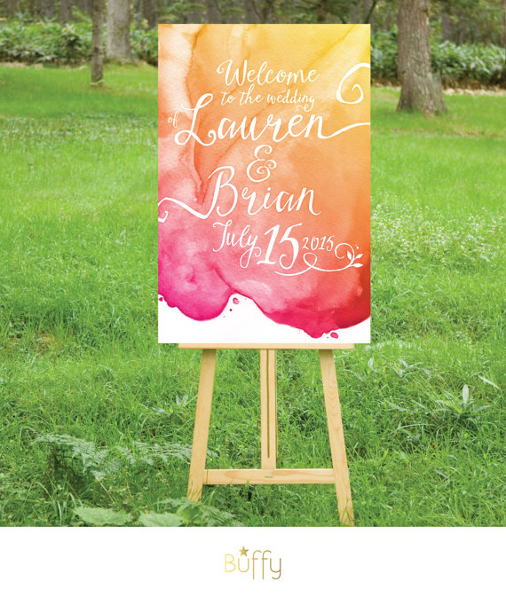 Watercolor Ceremony Welcome Sign – created and sold by BuffyWeddings on Etsy