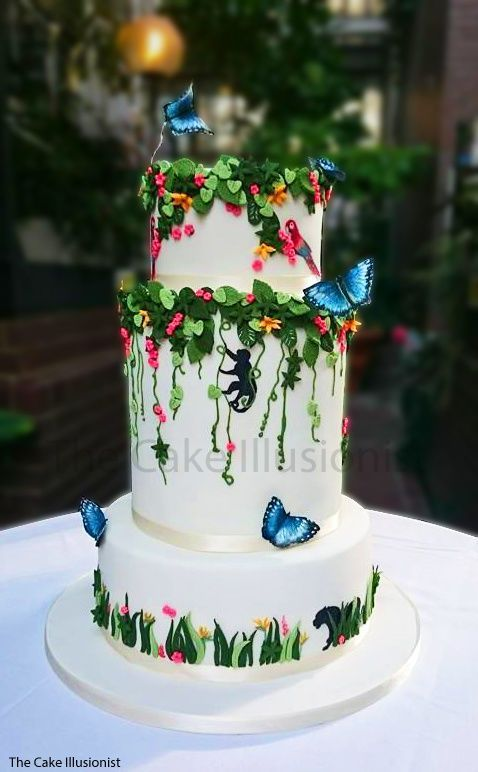 Butterfly and Vines Tiered Cake – shared by Hannah on CakesDecor