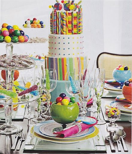 Colorful Candy Bar Tablescape and Place Setting – spotted on Pinterest