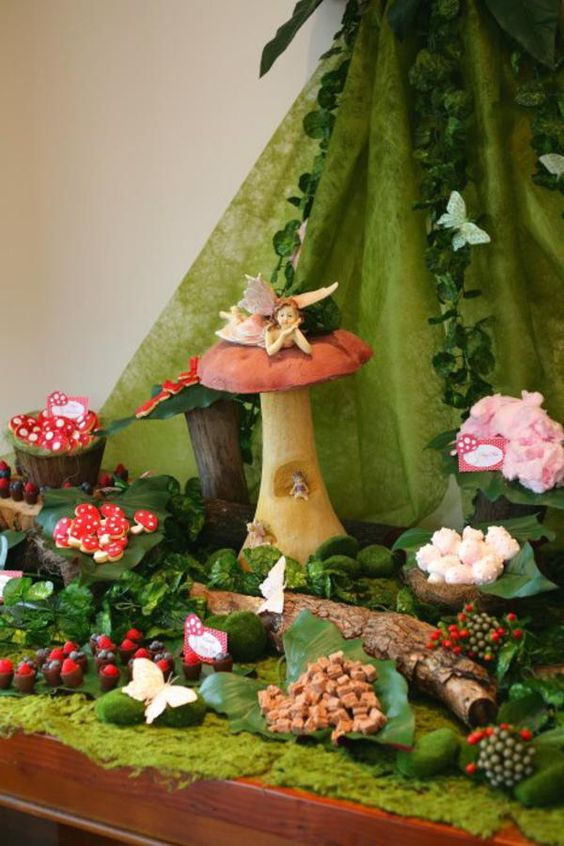Enchanted Forest Food Buffet with Fairy and Butterfly Accents – shared by Effi Tsoukatos on Kara's Party Ideas