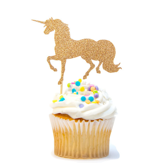 Gold Glitter Unicorn Cupcake Topper – created and sold by ShinySoiree on Etsy