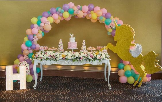 Gold Glitter Unicorn Party Dessert Buffet Table with Pastel Accents – spotted on Pinterest