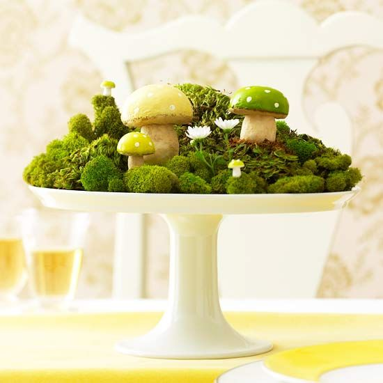 Mushrooms and Moss Garden Centerpiece – shared in a roundup post by Mix and Chic