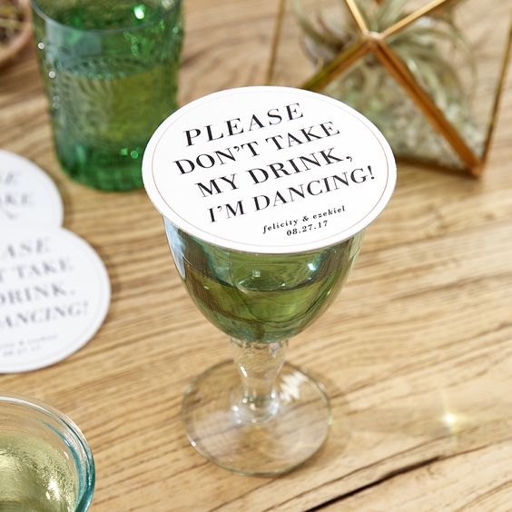 Please Don't Take My Drink, I'm Dancing Custom Drink Coasters – available by Wedding Paper Divas