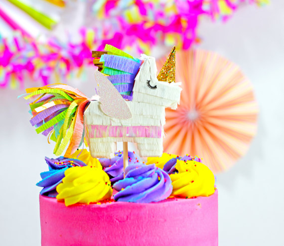 Unicorn Pinata Cake Topper – created and sold by LulaFlora on Etsy