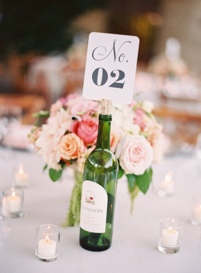Wine Bottle Table Number – shared by Jessica Burke in the Style Me Pretty Vault