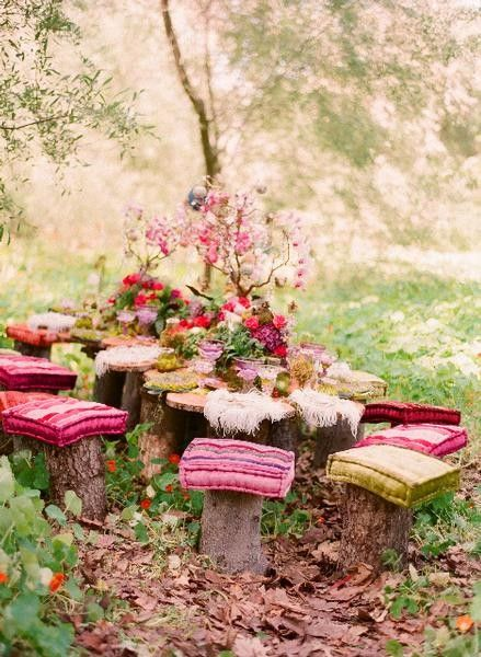 Woodland Garden Fairy Table Decor and Log Stools – shared in a roundup post by Artistic Odyssey