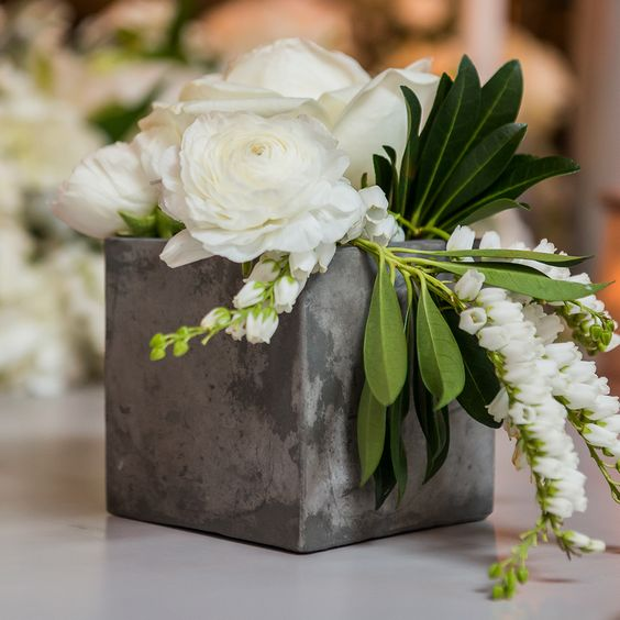Concrete Block Simple Centerpiece with White Flowers – shared on Simple Southern