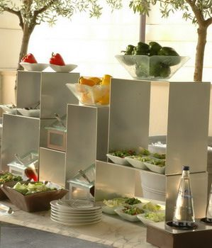 Cubic Food Buffet Stands and Elevations – shared in a roundup post by Flick River