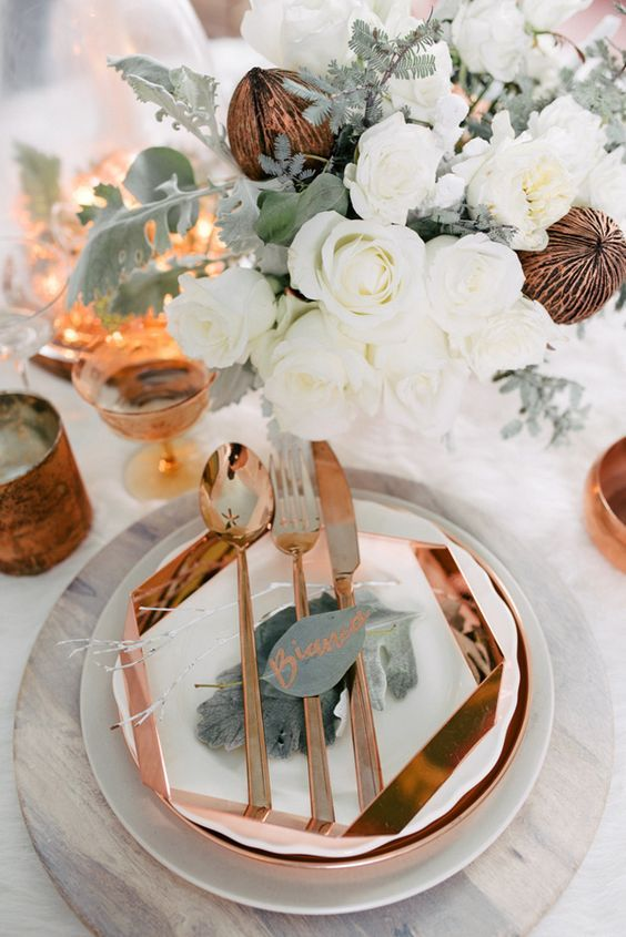 Geometric Copper and White Modern Place Setting
