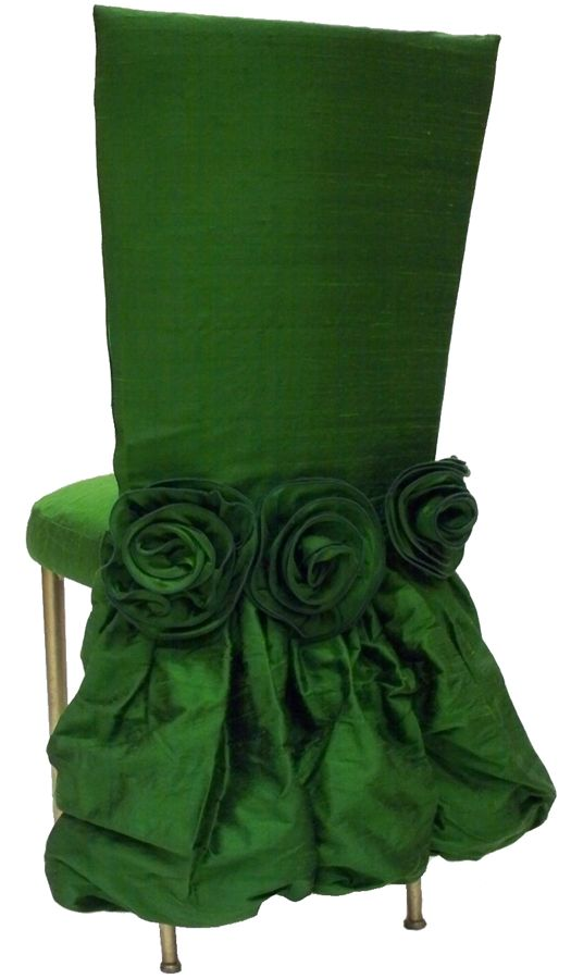 Green Chair Cover with Bustle and Green Flowers – available through Wild Flower Linen