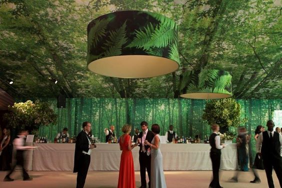 Green Woods Tent and Ceiling with Green Fern Lamps – shared in a roundup post by Food52