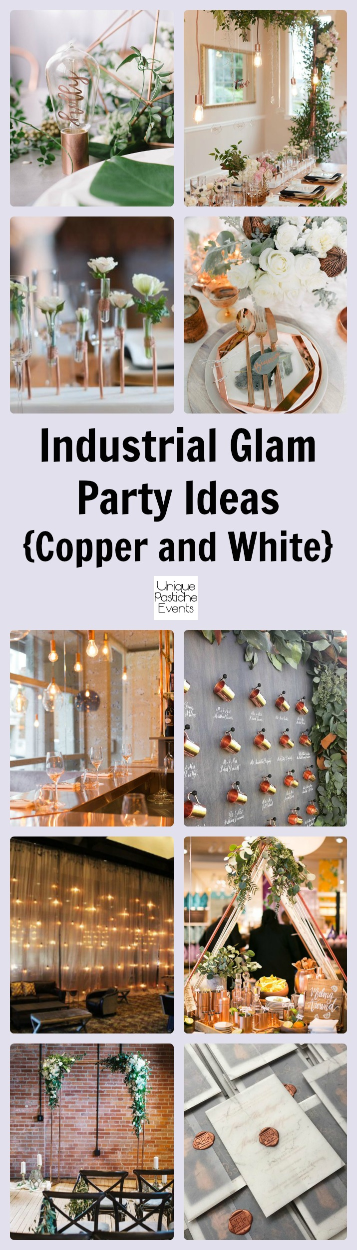 Industrial Glam Party in Copper and White