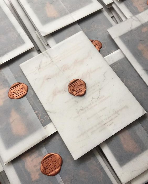 Marble Vellum Invitation Wraps with Copper Wax Seal – created by Written Word Calligraphy