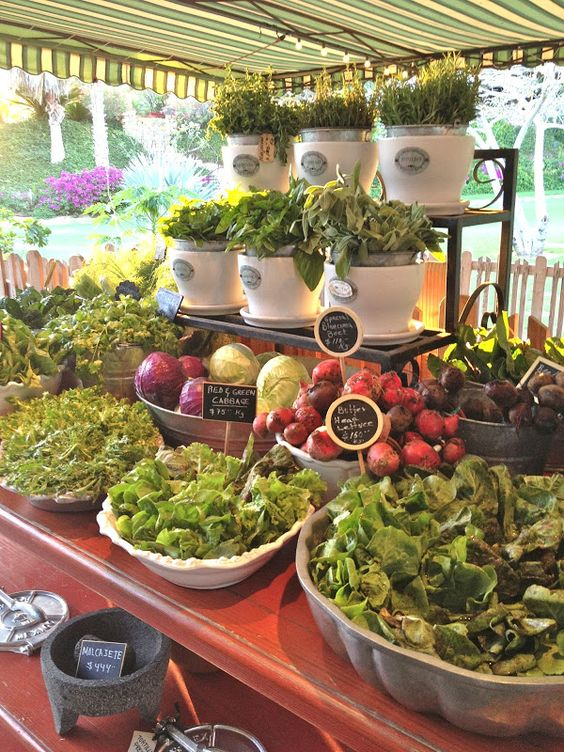 Market Style Salad Bar with Fresh Herbs and Greens – shared on Vignette Design