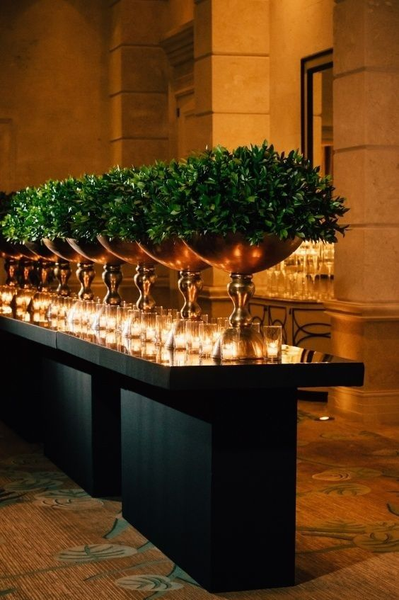 Silver Compote Planters Filled with Boxwood Perimeter Decor – spotted on Pinterest