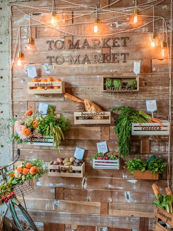 Wooden Plank Market Wall with Fresh Vegetables (would be a fantastic photo backdrop) – shared on Habitat Events