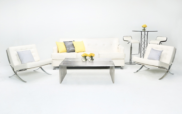 Modern White Event Lounge Seating Arrangement – available through AFR Event Rentals
