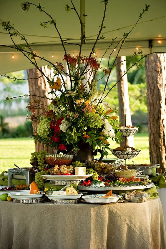 Rustic Burlap Food Buffet And Display Shared In The Style Me Pretty Vault