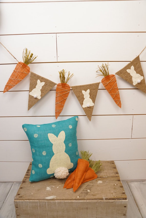 Spring Bunny and Carrot Burlap Pennant Banner – created and sold by thelittlegreeenbean on Etsy