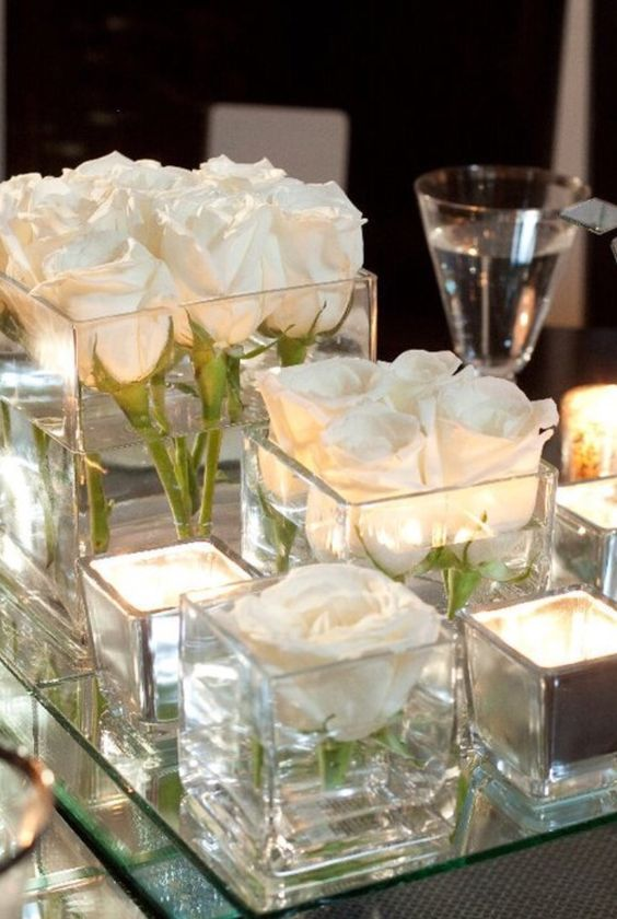 White, Glass, and Mirror Simple Cube Centerpiece