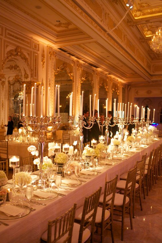 Candelabra Estate Table in White – shared by Rafanelli Events