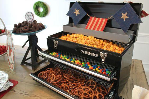 Car Mechanic Party Food Buffett in Tool Box