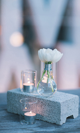 Cement Brick with Lightbulb Vase and Votive Candles Cocktail Centerpiece – shared on Polka Dot Bride