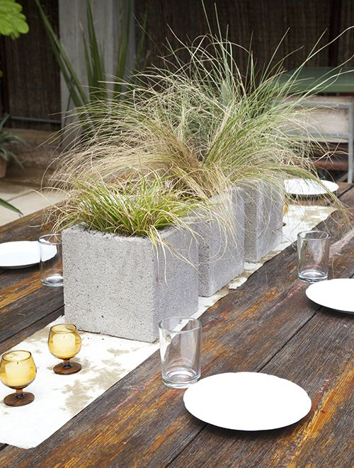 DIY Cinderblock and Grass Centerpiece – shared by Design Sponge
