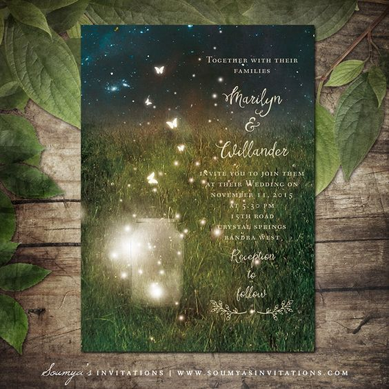 Enchanted Forest Firefly Invitation available by Soumyas