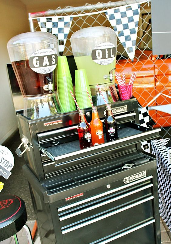 Garage Toolbox Drink Cart – shared on Hostess with the Mostess
