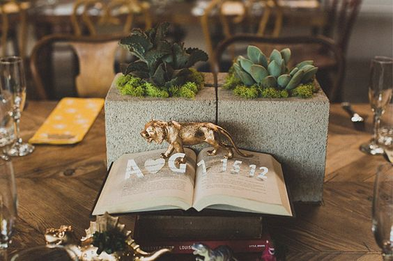 Gold Lion with Moss and Succulents Double Cinderblock Centerpiece – shared on White Magazine