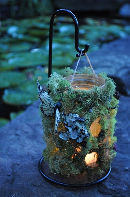 Illuminated Moss Covered Jar with Butterfly Accent