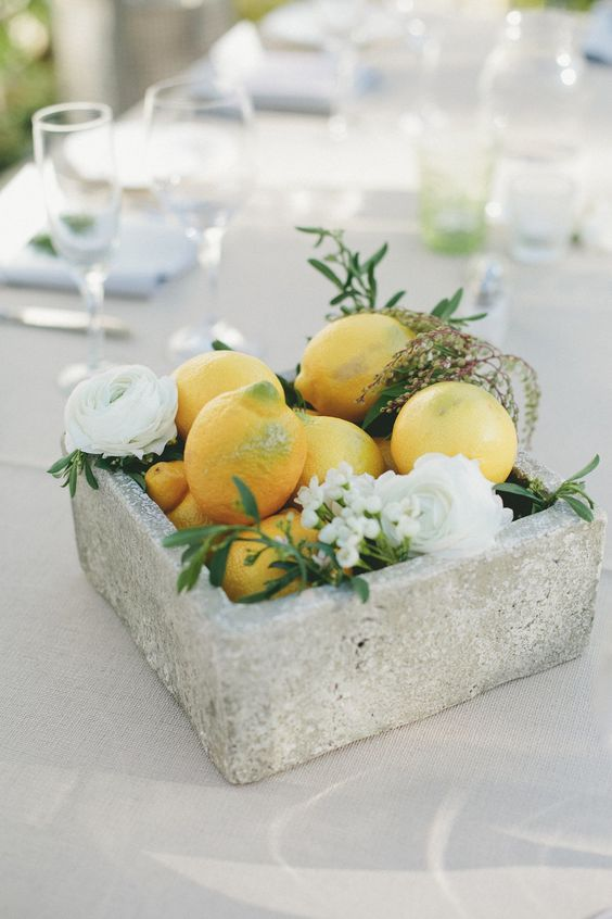 Lemons and Greenery Concrete Block Centerpiece – shared in the Style Me Pretty Vault