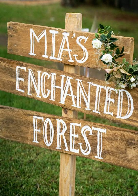 Mia_s Enchanted Forest Wooden Sign – shared by Louise Sanders of Sunshine Parties on Kara_s Party Ideas